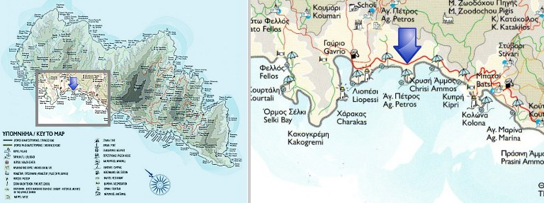Map of Agios Petros, Andros