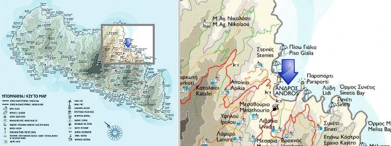 Karte von Andros Stadt, Andros