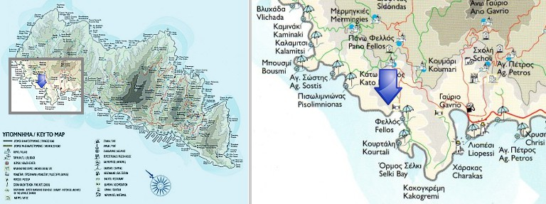 Map of Fellos, Andros