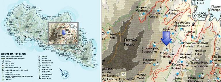 Karte von Menites, Andros
